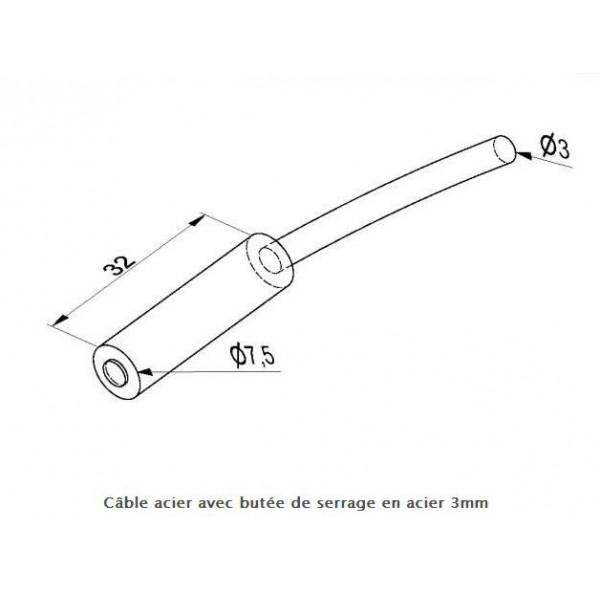 Câble acier avec butée de serrage en acier pour porte sectionnelle gunther Hormann javey