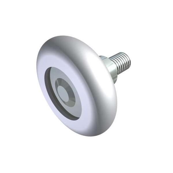 2 roulettes courtes avec filetage m 10 nylon blanc pour porte sectionnelle ou basculante - Roulette pour porte de garage ...